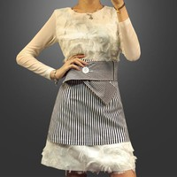 """MaxMara"" Women Temperament Fashion Solid Color Tassel Long Sleeve Mini Dress Stripe Short Skirt Set Two-Piece"