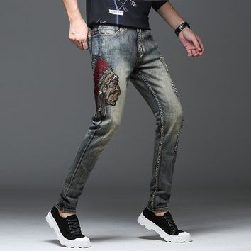 Embroidery Indian Ripped Holes Vintage Stretch Slim Jeans [3444983070813]