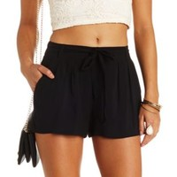 Sash-Belted High-Waisted Shorts by Charlotte Russe - Black