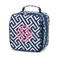 Navy Greek Key Monogrammed Lunch Bag