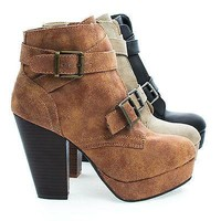 Huxley15 By Bamboo, Almond Toe Strappy Buckle Platform Block Heel Ankle Bootie