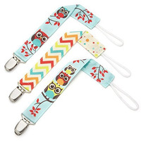 Pacifier Clip - 3 Pack, Unisex - Unique 2-Sided Retro Owls Design, Pacifier Holder Set for Girls and Boys - Best Binky Leash for Teething Toys, Baby Blankets, Soothie - Perfect Baby Shower Gift