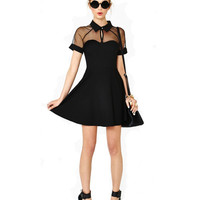 Black Short Chiffon Sleeve Shirt Dress