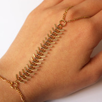 Gold Fish Tail Bone Toothed Skeleton Chainmaille Metal Armor Connected Steampunk Statement Slave Bracelet Big Ring, Hand Finger Body Jewelry