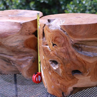 Teak Wood Table Pair Display Specimens High Quality Wood CosmicCuts V-36
