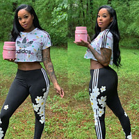 Adidas 2020 new women's letter printing fashion casual two-piece suit