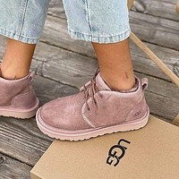 UGG new plush mid-cut lace-up couple snow boots shoes