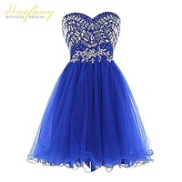 Royal Blue Tulle Prom Dresses Sweetheart Crystal Beadings Short 15 Year Party Dresses Homecoming Dresses robe de Cocktail