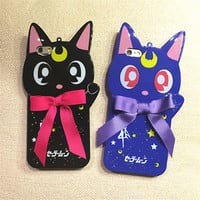 Cute 3D cartoon Bow cat Sailor Moon soft back case cover for iphone 7 6 6S plus
