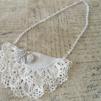 Lace Doily Necklace, Repurposed Jewelry,  Ivory Vintage Doily Bib Necklace, Anthropologie Inspired Necklace