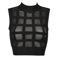 Clothing : Tops : 'Parker' Black Bandage and Mesh Cropped Top
