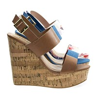 Charade56 By Bamboo, Cork Platform Wedge Open Toe Sandal In Floral Print, Jean