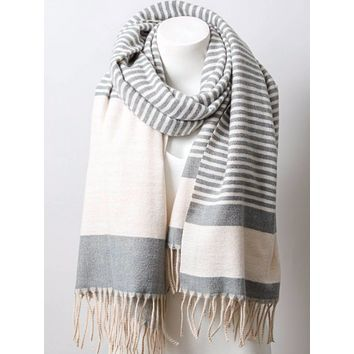 Soft Charcoal Stripe Scarf