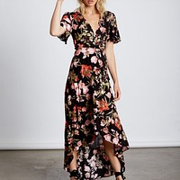 Final Sale - Cotton Candy LA -High-Low Wrap Dress - Floral Black