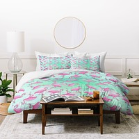 Madart Inc. Pink and Aqua Flamingos Duvet Cover