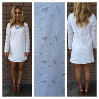 White Violeta Long Sleeve Lace Dress