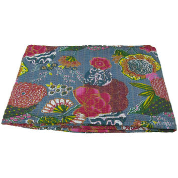 """60x90"""" Kantha Floral Twin Quilt Bedspread Blanket Bed Cover Embroidered Coverlet Ethnic Indian Home Decor Art"""