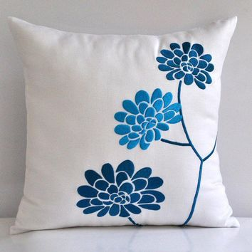 Turquoise Peonies Throw Pillow Cover 18 x 18 by Kainkain