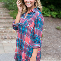 Plaid Side Slit Tunic - Coral/Navy