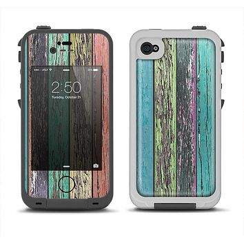 The Chipped Pastel Paint on Wood Apple iPhone 4-4s LifeProof Fre Case Skin Set