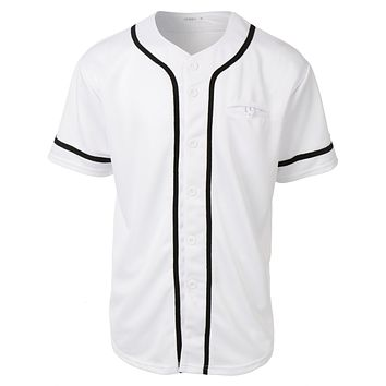 Mens Active Varsity Short Sleeve Button Down Baseball Jersey with Patch (CLEARANCE)