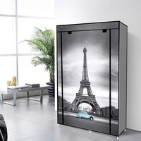 Non-Woven Canvas Wardrobe Bedroom Storage Unit With Eiffel Tower