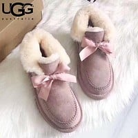 Wearwinds UGG fashionable bow-tied velvet uggs are hot sellers of casual ladies' wool boots Pink