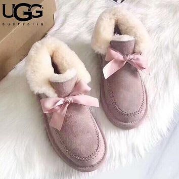 Alwayn UGG fashionable bow-tied velvet uggs are hot sellers of casual ladies' wool boots Pink