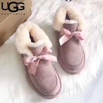 U UGG fashionable bow-tied velvet uggs are hot sellers of casual ladies' wool boots Pink