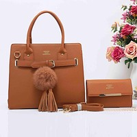 HERMES Fashion Tassel Ball  Women Shopping Leather Crossbody Satchel Shoulder Two Piece Brown I-XS-PJ-BB