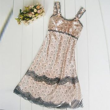 New Arrival Sexy lingerie Brace Female Imtated Silk Lace Sleepwear Women Nighty Gown Robes