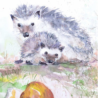 Hedgehog Art Original Watercolor Painting Forest Animals Woodland Nursery Decor Watercolour Print Mom Day Gift Mother And Baby Gifts
