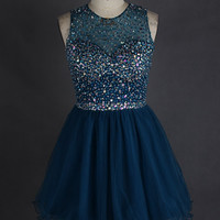 Short Ball Gown Teal Prom Dress Sequin O Neck Crystal Tulle College Homecoming Dress 8th Grade Graduation Dress