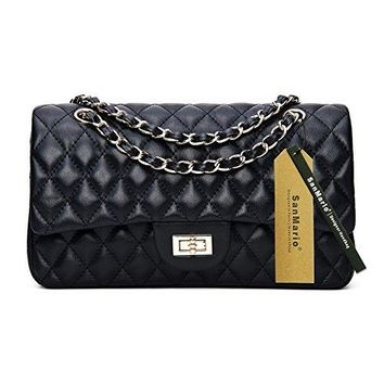 "SanMario Designer Handbag Lambskin Classic Quilted Grained Double Flap Black Metal Chain Women's Crossbody Shoulder Bag (25.5cm/10"",28cm/11"",30cm/12"")"