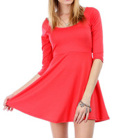 Plus Size Cut-Out Back Skater Skirt in Coral