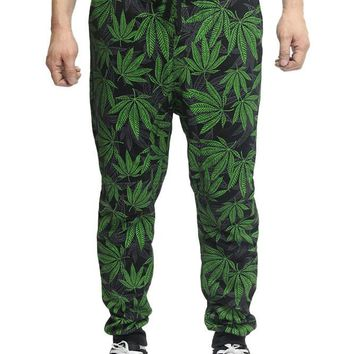 Leaf Print French Terry Jogger Pants