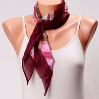cotton scarf Womens Scarves Gift For her Printed Scarf shawl Summer Scarves spring scarf burgundy Womens Fashion scarves womens clothing