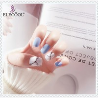 ELECOOL 24pcs Fake Nail Blue and Red Nail-painted Fashion Finished Nail Patch Nail Art Artificial Extension Design Short Length