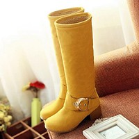 Buckle Tall Boots Chunky Heel for Women 5519