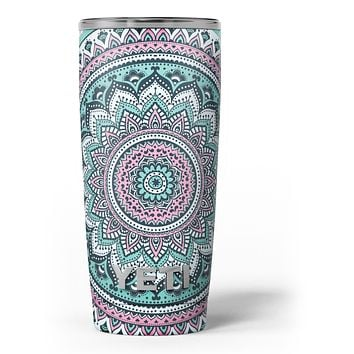 Green and Pink Circle Mandala v9 - Skin Decal Vinyl Wrap Kit compatible with the Yeti Rambler Cooler Tumbler Cups