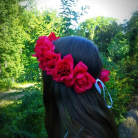 Red, Rose, Flower, Crown, Headband, renaissance, Flamenco,  Floral, Headpiece, Frida Kahlo, hula, haku, festival, large, big, coachella, edm