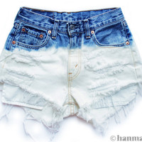 """ALL SIZES """"PLAINO"""" Vintage Levi high-waisted denim shorts blue ombre dip dyed bleached"""