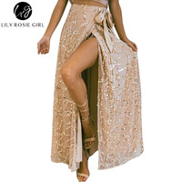 Girl Women 2017 White Sexy Sequined Straight Empire Maxi Skirts Casual Summer Beach Party Faldas Mujer Long Skirt