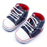 Baby Boy Girls Cute Canvas Soled Shoes Toddler Infants Crib Walk Shoes 0-12M NW