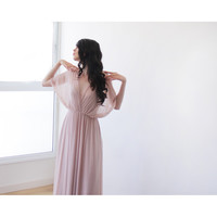 Fairy Chiffon dress, Pink blush maxi dress, Dress with slit , Bat sleeves