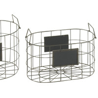 Set Of 3 Majestic Metal Wood Baskets