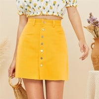 Bright Button Up Front Mini Skirts Womens Boho Mid Waist Skirt Solid Casual Cotton A Line Skirt