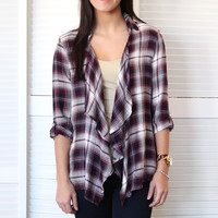 Crochet + Plaid Cardigan {Burgundy Mix}
