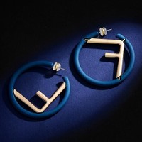 FENDI Fashionable Women Exaggerated Circle F Letter Pearl Pendant Earrings Accessories Jewelry Blue