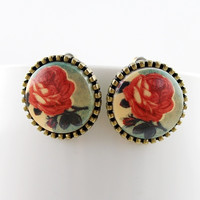 Lovely Design vintage style Elegant flower round stud earings = 1958084356
